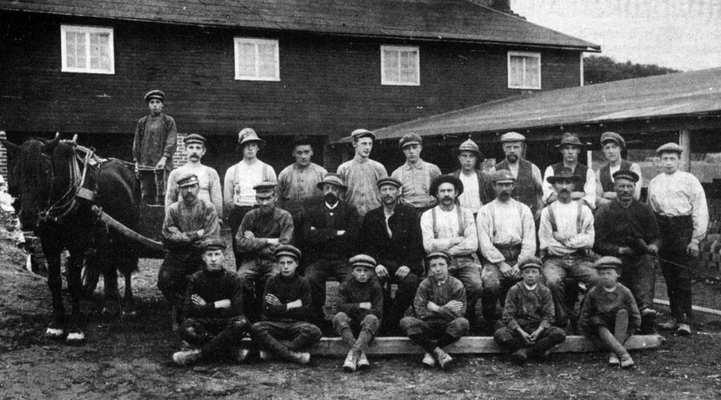 Arbeidsstokken på Reppe teglverk rundt 1914: